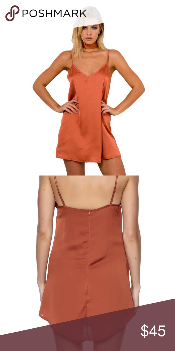 936c22aa6700e Rust - satin slip dress Rust colored satin slip dress (neck tie not  attached but included!) dress it up dress it down with a jeans jacket! So  versatile!!!