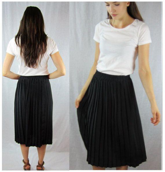 black accordion skirt PLEATED circle midi by RedLuckVintage
