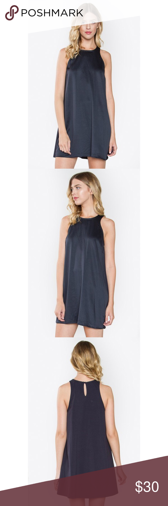 """Knit Dress Too cute to be true! Our Knit Dress is a simple piece but with the right accessories, you can definitely rock this dress! Pair with strappy heels and statement necklaces for a look well done.  - Simple sleeveless knit dress - Back button with key hole opening - Color: Navy  Size + Fit - Model is wearing size S - Measurements taken from size S - Length: 35"""" Dresses Midi"""