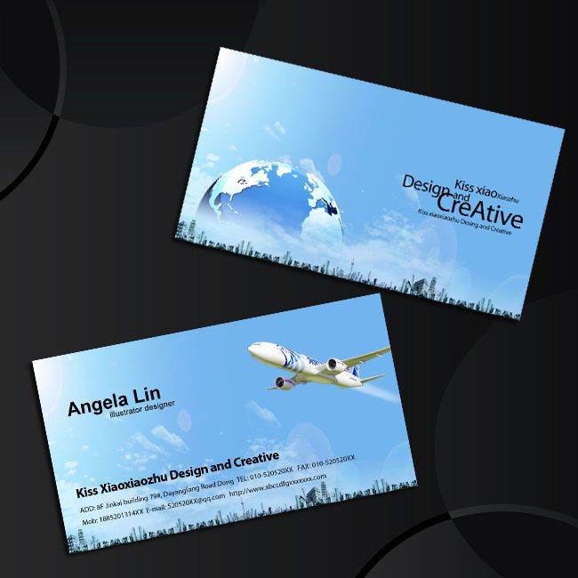 aviation business card design to enjoy travel agency business card