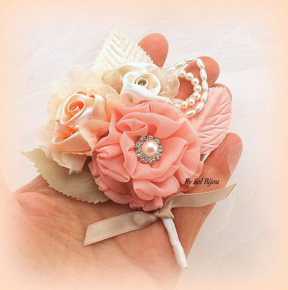 Wedding Boutonnieres Ivory Peach Coral Champagne Groomsmen Groom ...