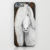 iPhone & iPod Case featuring White Shetland Pony Painting by RokinRonda