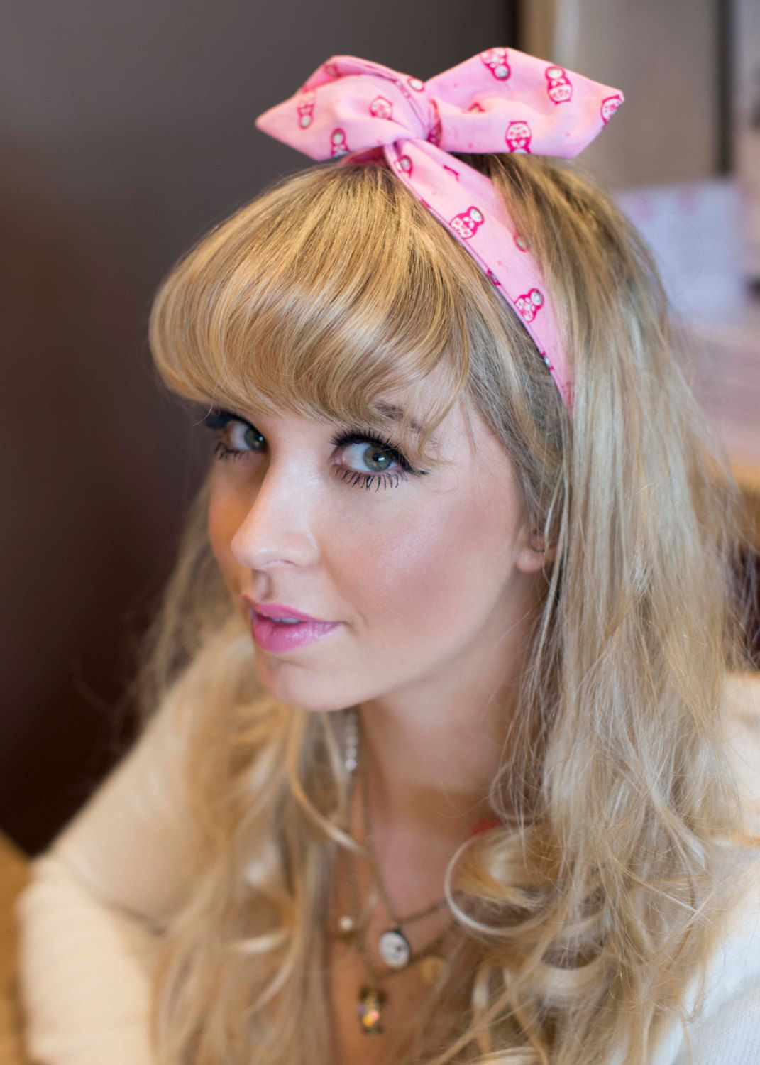 This adorable pink russian doll wire headband dolly bow retro hair
