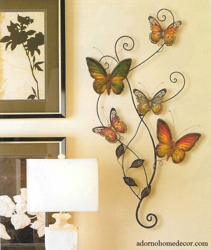 Metal Butterfly Wall Decor Art Garden Cottage Unique Indoor Outdoor ...