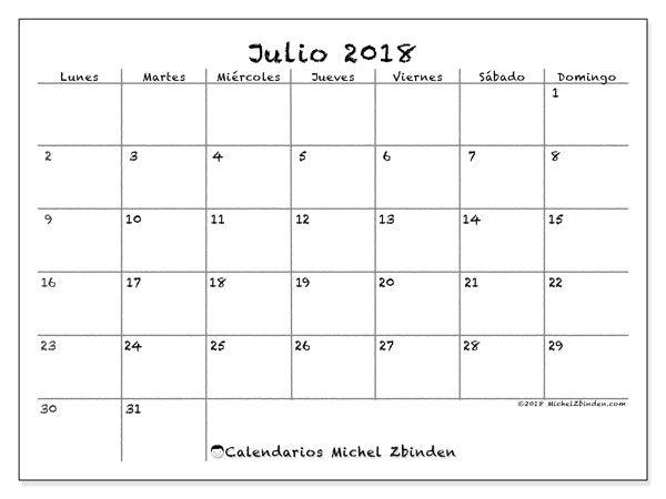 Calendario julio 2018 (77LD)