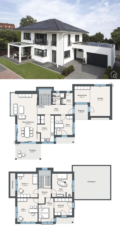 Fertighaus Stadtvilla Grundriss mit Garage & Walmdach Architektur, Haus Ideen mit Putz Fassade weiss #modernegärten
