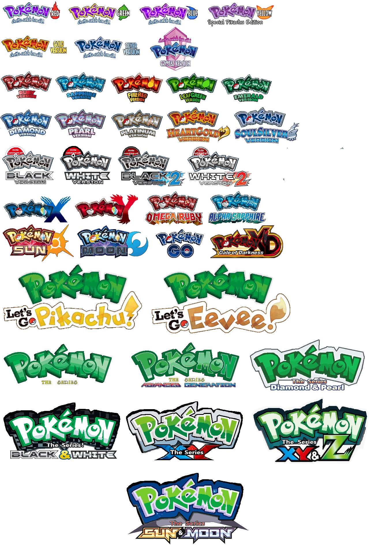 Pokemon Game Anime Logo Edits Closer To Original Japanese Versions Gen 1 7 Eevee Pokemon Games Pokemon