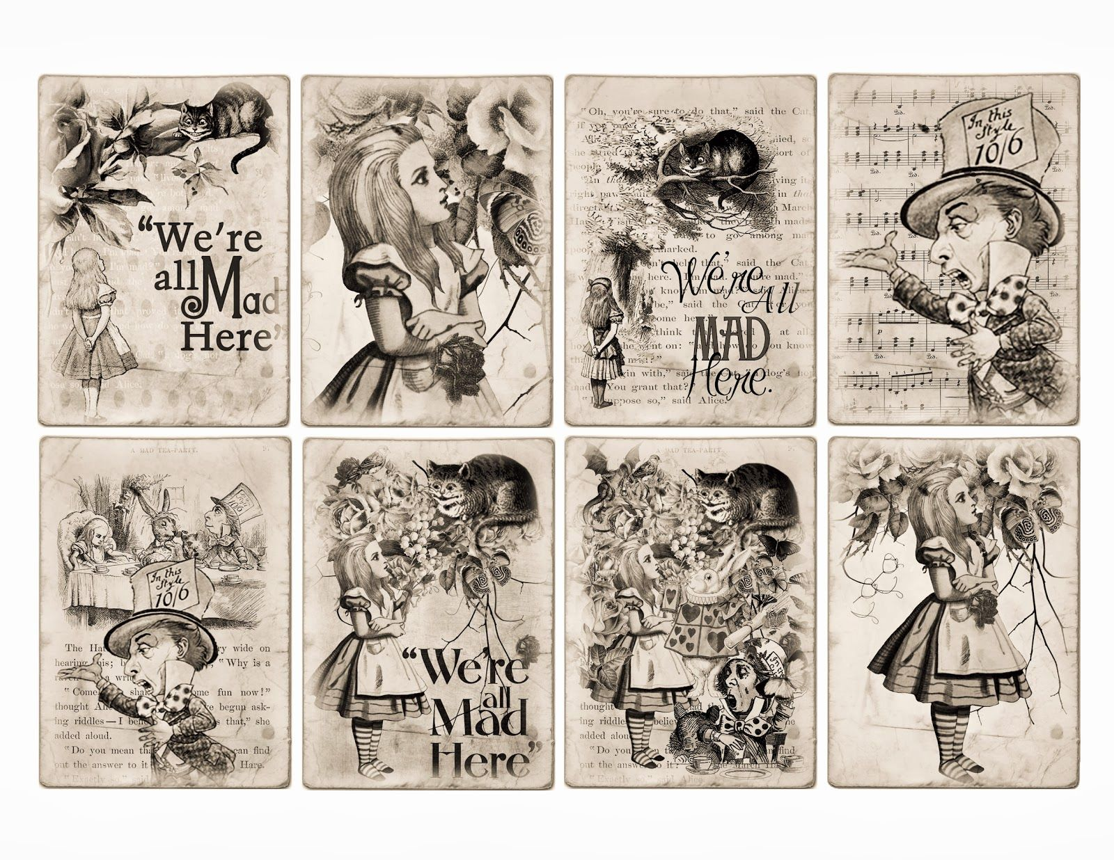 Free Alice In Wonderland Atc Tags Background Digital Collage Sheet Alice In Wonderland Printables Alice In Wonderland Crafts Alice In Wonderland