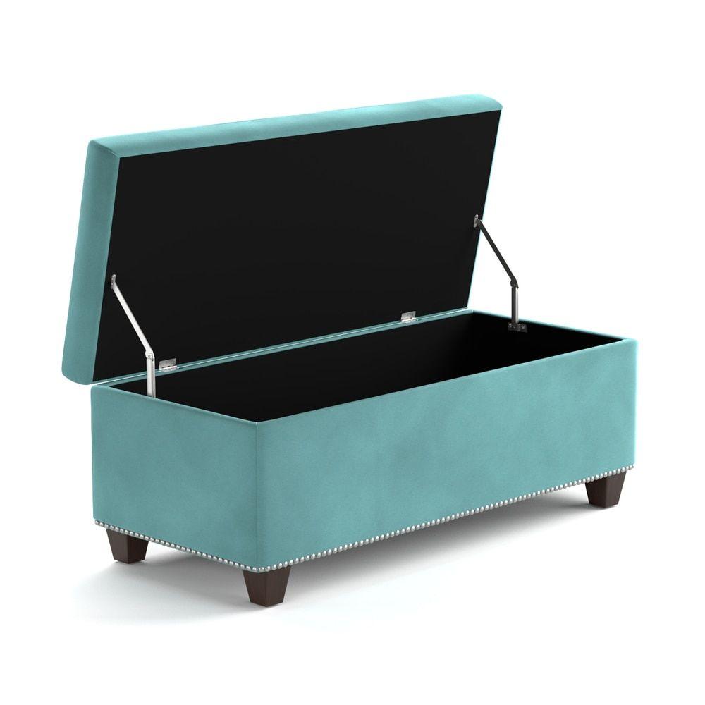 Handy Living Tufted Turquoise Blue Velvet Bench Storage Ottoman | Overstock.com  Shopping   The