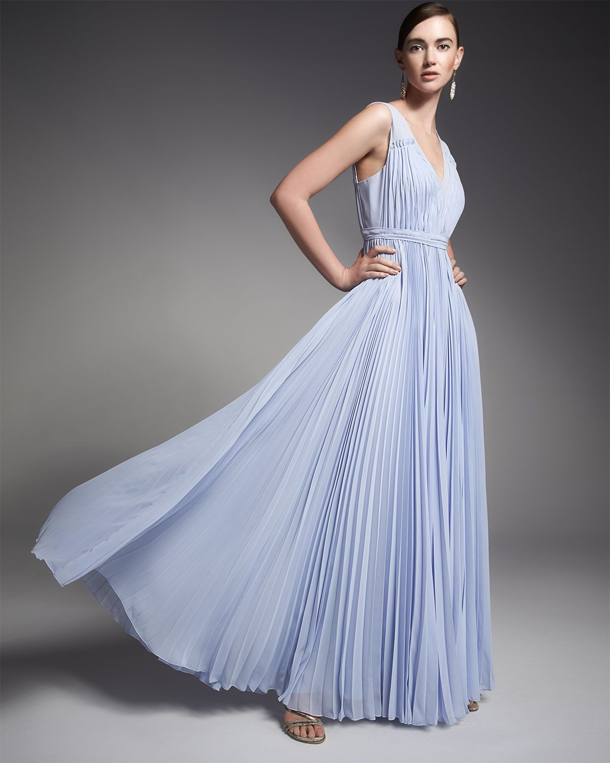 Rebecca taylor sleeveless pleated vneck gown my style pinterest