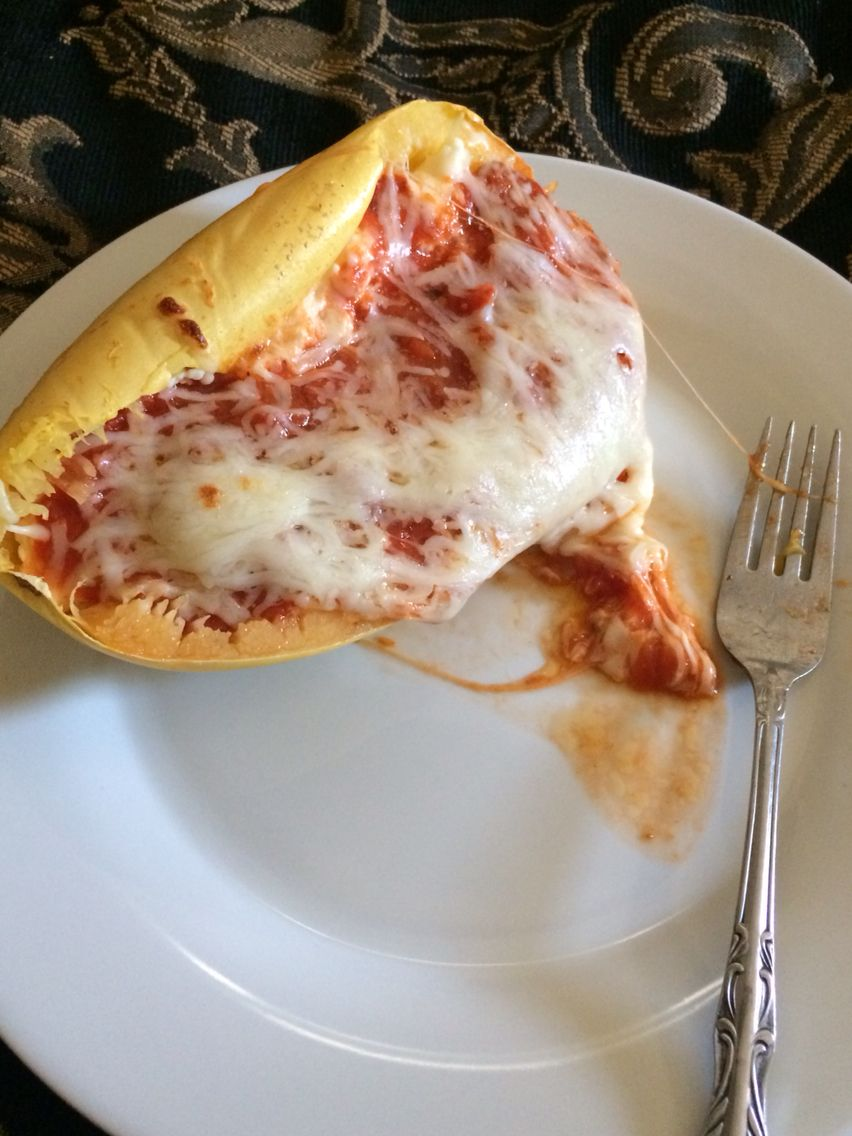 My stuffed spaghetti squash I made yesterday. I made a meatless lasagne. Marinara sauce, ricotta & cottage cheese mixed together, Mozzarella & Parmesan cheese. So good!