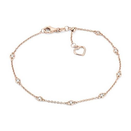 Diamond Station And Heart Bracelet In 14k Rose Gold 1 4 Ct Tw Heart Bracelet Diamond Bar Bracelet Bracelets