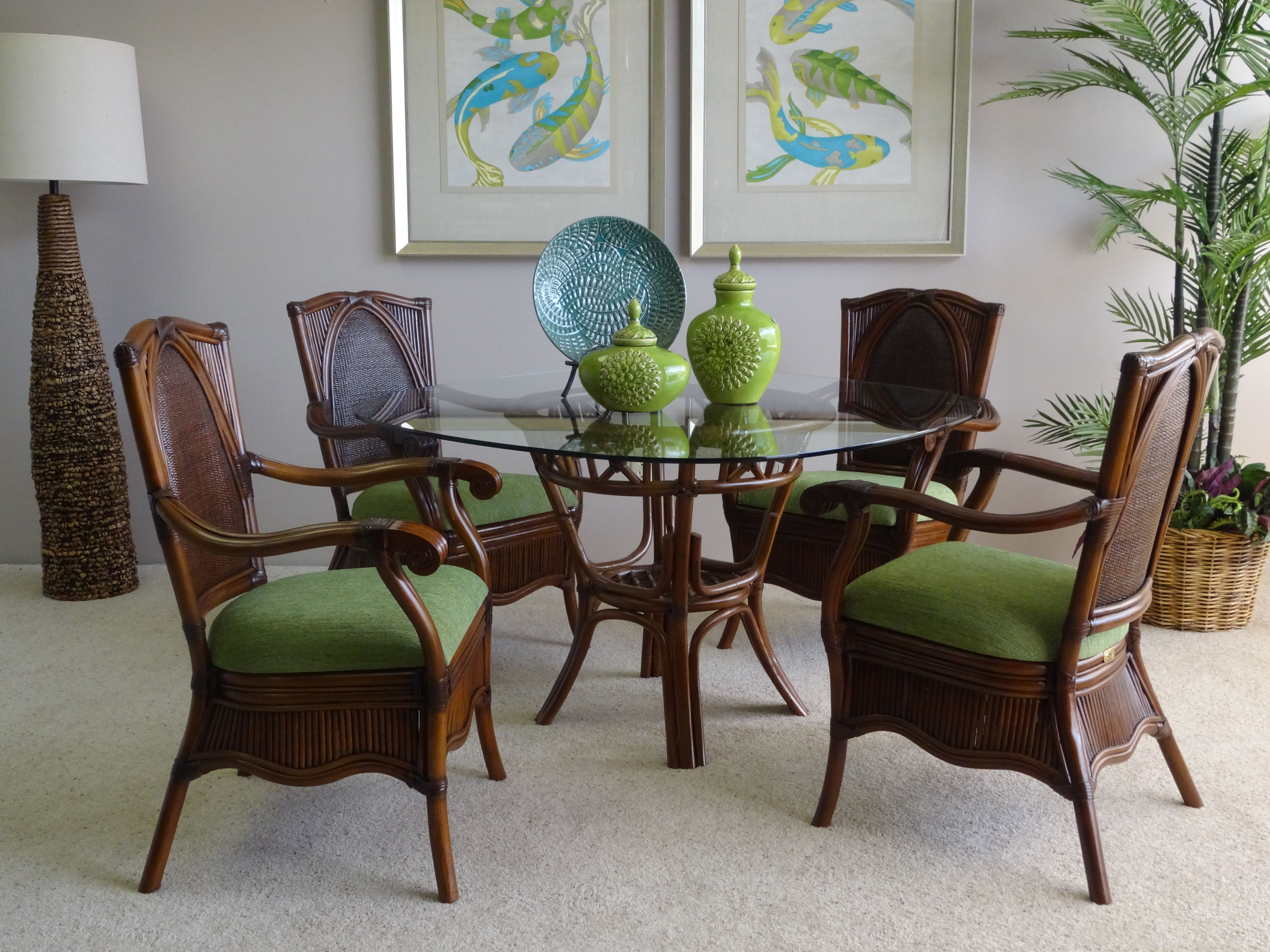 Woodmere Dining Set Fruitwood This Plantation Style Features A Rattan Base With Matching Wicker And Chairs