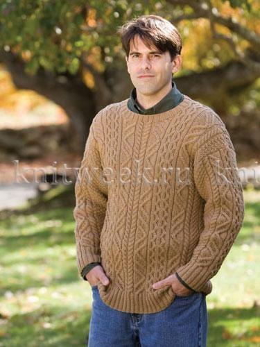 Классический пуловер с аранами   Вязание для мужчин   Pinterest