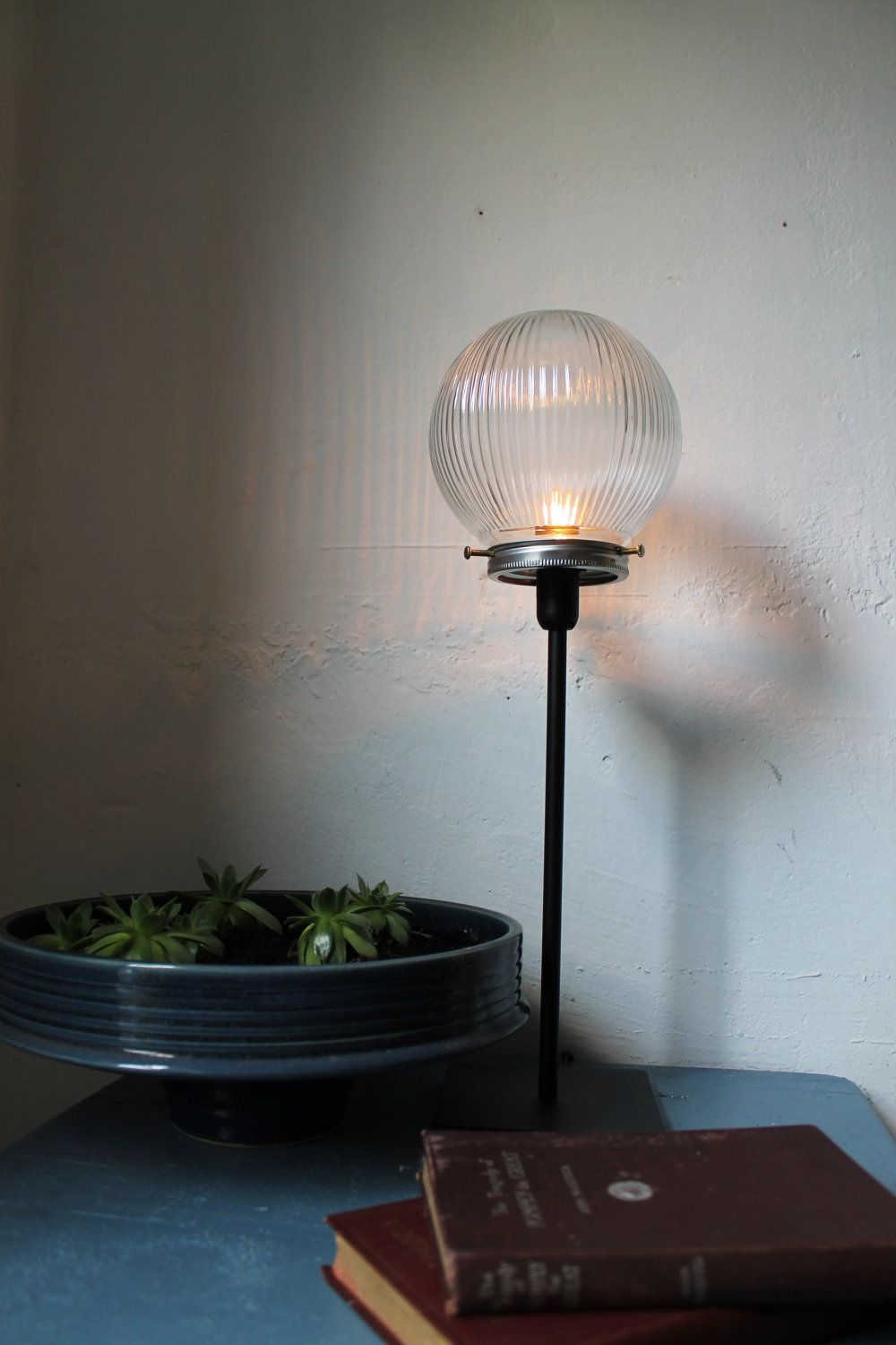 Summer Nights Street Lights   Crystal Clear Textured Holophane Glass Globe  Orb Table Top Lamp   UpCycled Light Fixture   BootsNGus Lamps