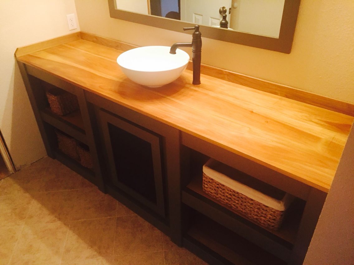 Diy Bathroom Vanity W Maple Wood Countertop Wood Countertops
