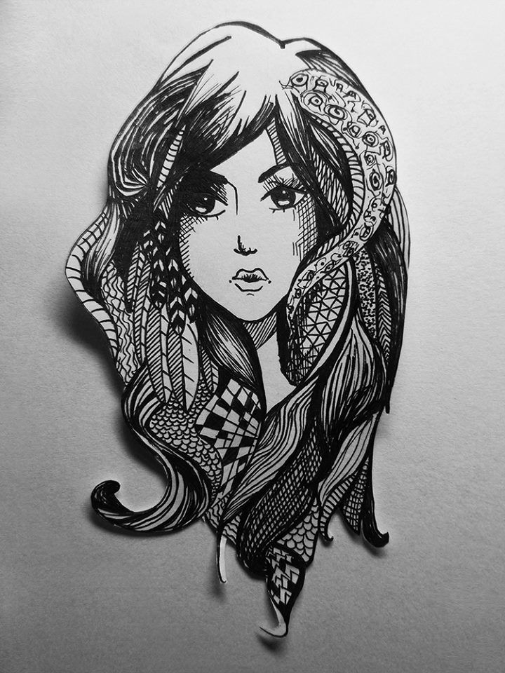 Art black and white doodle drawing feather zentangle for Doodle art faces