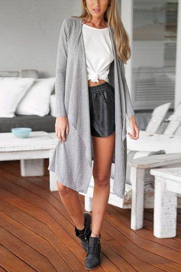 Grey Long Sleeves Irreular Hem Longline Cardigan | Shop №30 ...