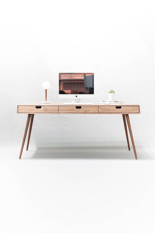 Desk in walnut/oak wood, Bureau, dressing table, office ...