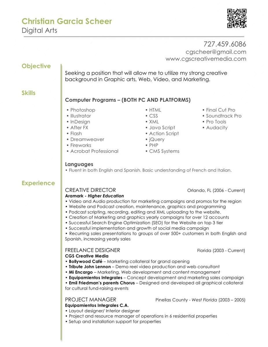 Digital Arts Resume Example With Skills In