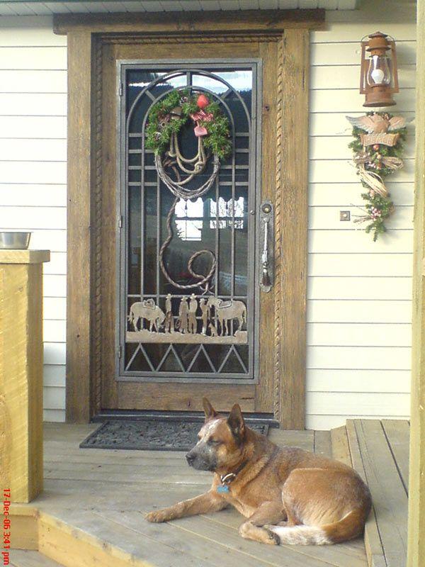 Custom Old Western Style Door With Fine Art Decorative