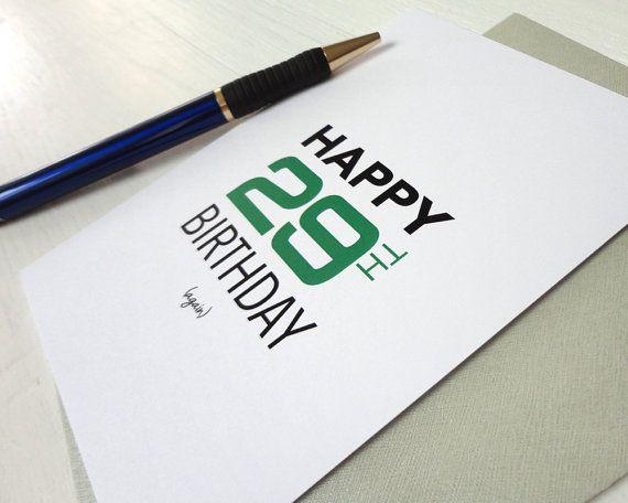 Happy 29th Birthday Again Funny Birthday Card Green Black Modern