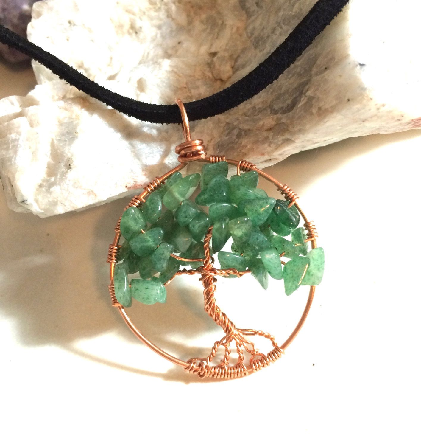 Jade and Copper Tree of Life inspired Pendant by AlisonsGemstones on Etsy