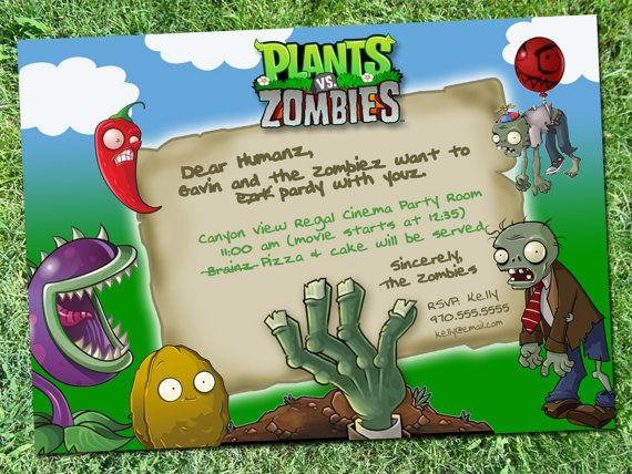 Plants Vs Zombies Party Invitation Digital Download Etsy Zombie Birthday Parties Plants Vs Zombies Birthday Party Zombie Birthday