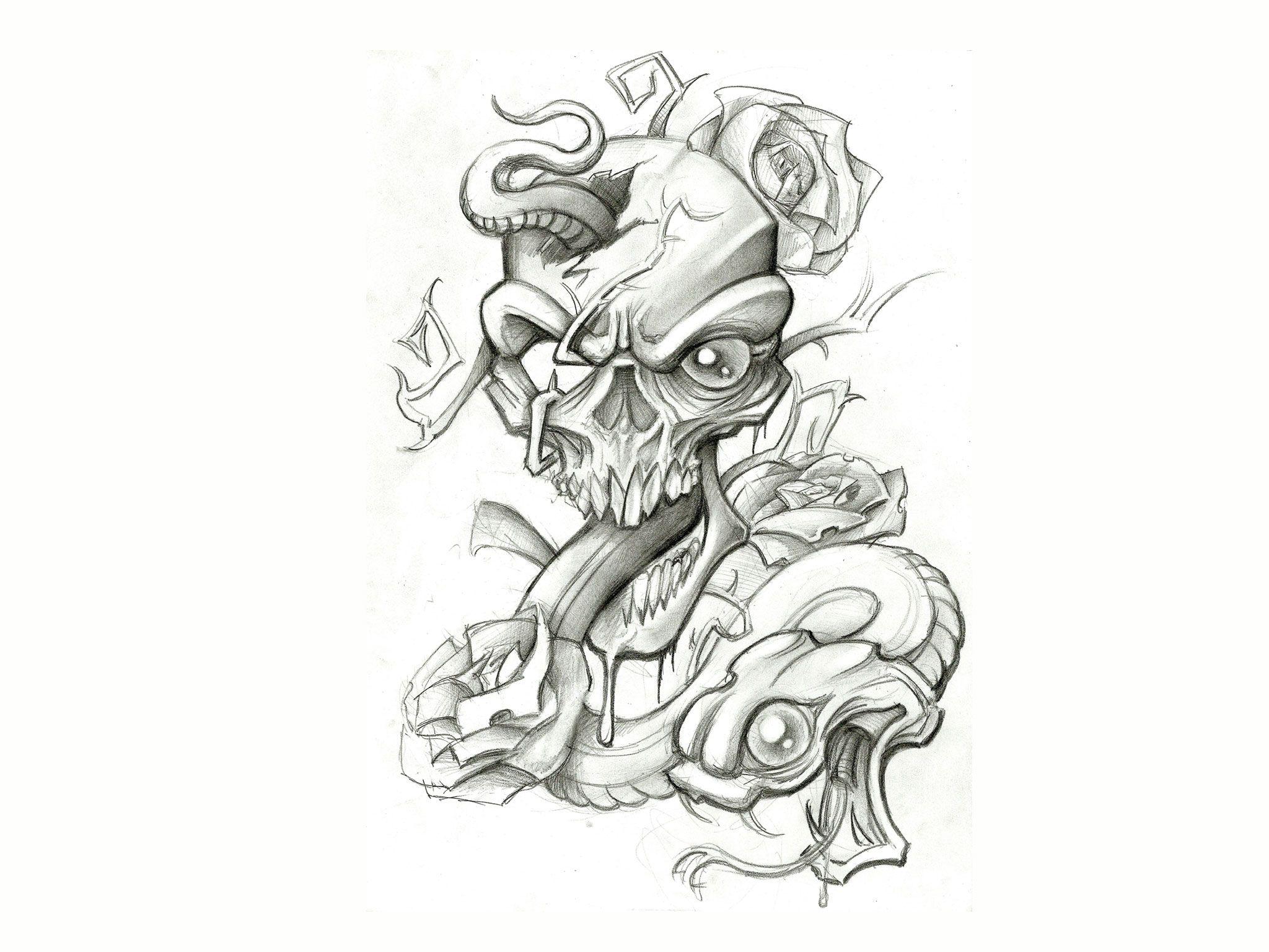 Skulls With Snake Drawing Art Tattoo Design Im 7888 Wallpaper Art Tattoo Tattoo Designs Rose Drawing Tattoo