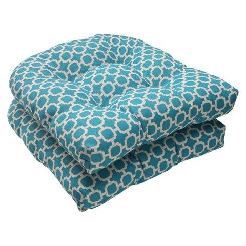 Outdoor 2 Piece Wicker Seat Cushion Set Teal White