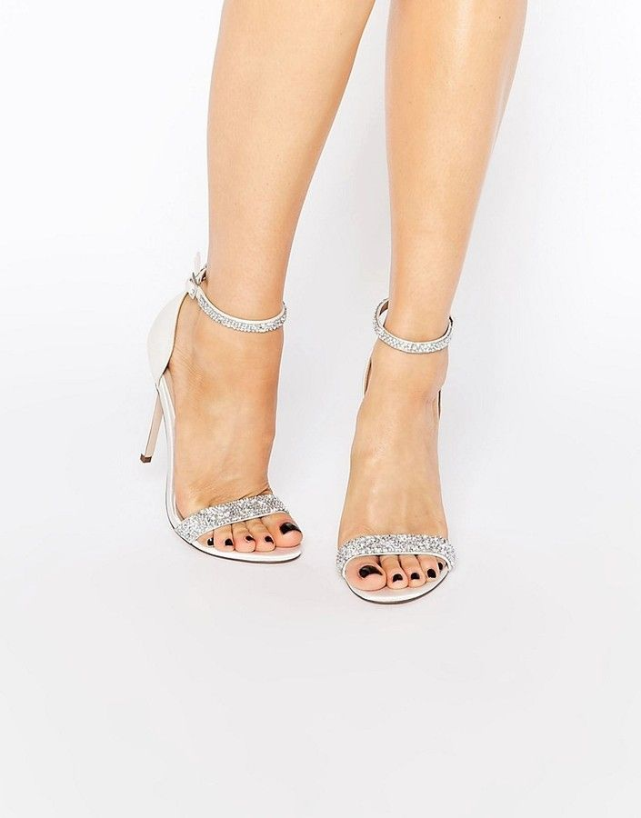 New Look Satin Embellished Heeled Sandal In White
