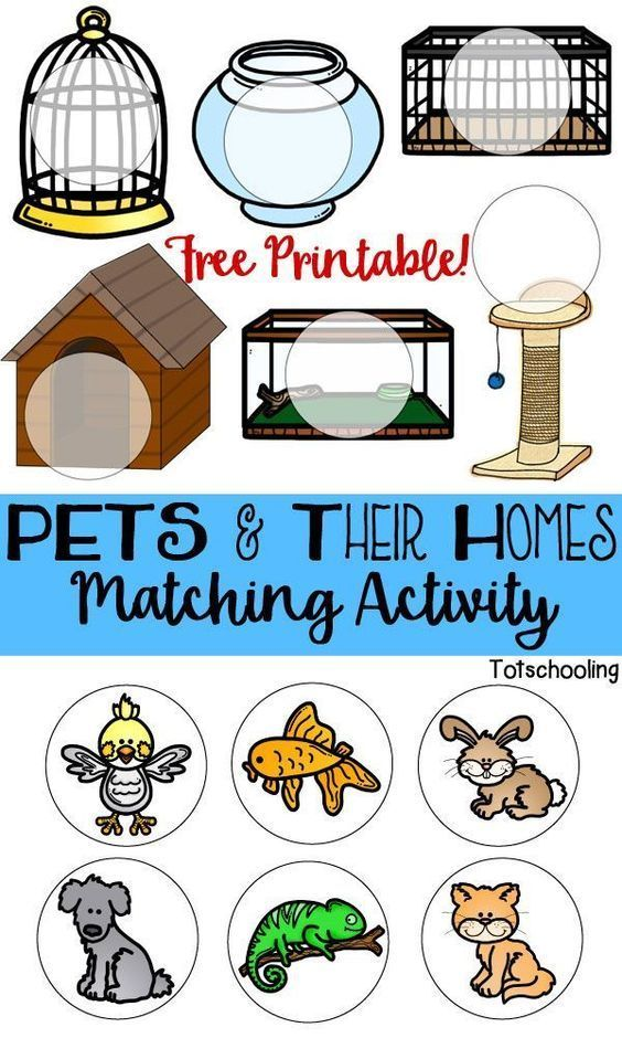 FREE printable game for toddlers and preschoolers to match pets with