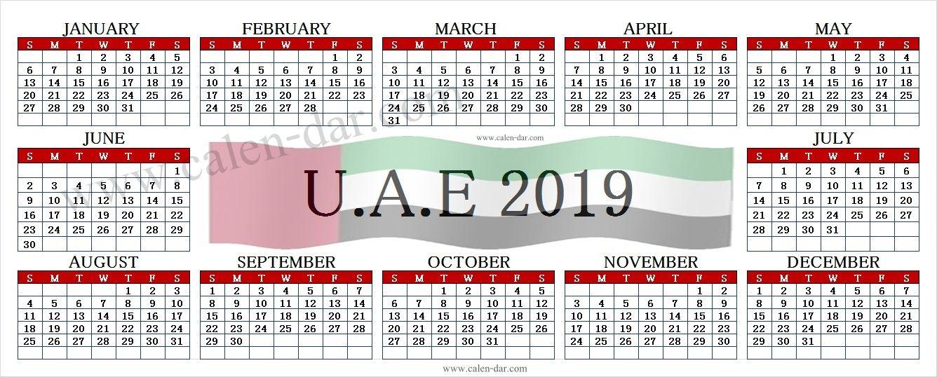 Calendar 2019 Uae With Holidays Printable Holiday Printables