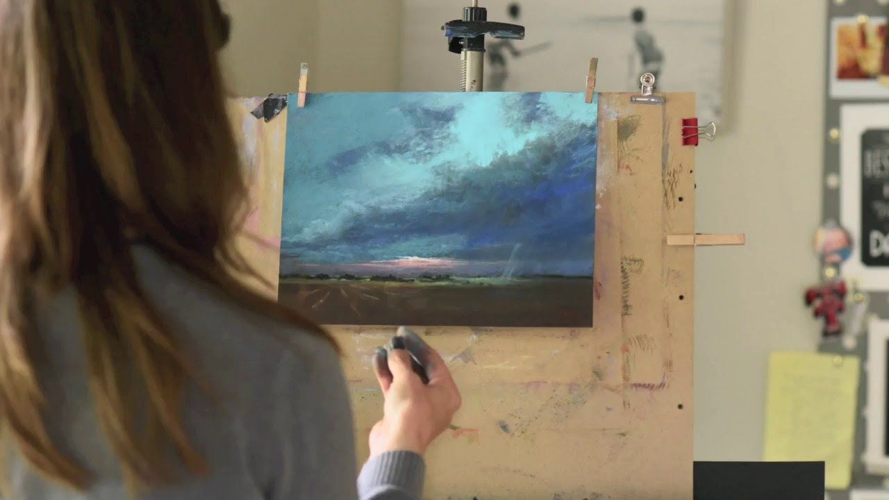 How To Paint Storm Clouds In Pastel Time Lapse Demo By Bethany Pastel Landscape Pastel Painting Oil Painting Basics