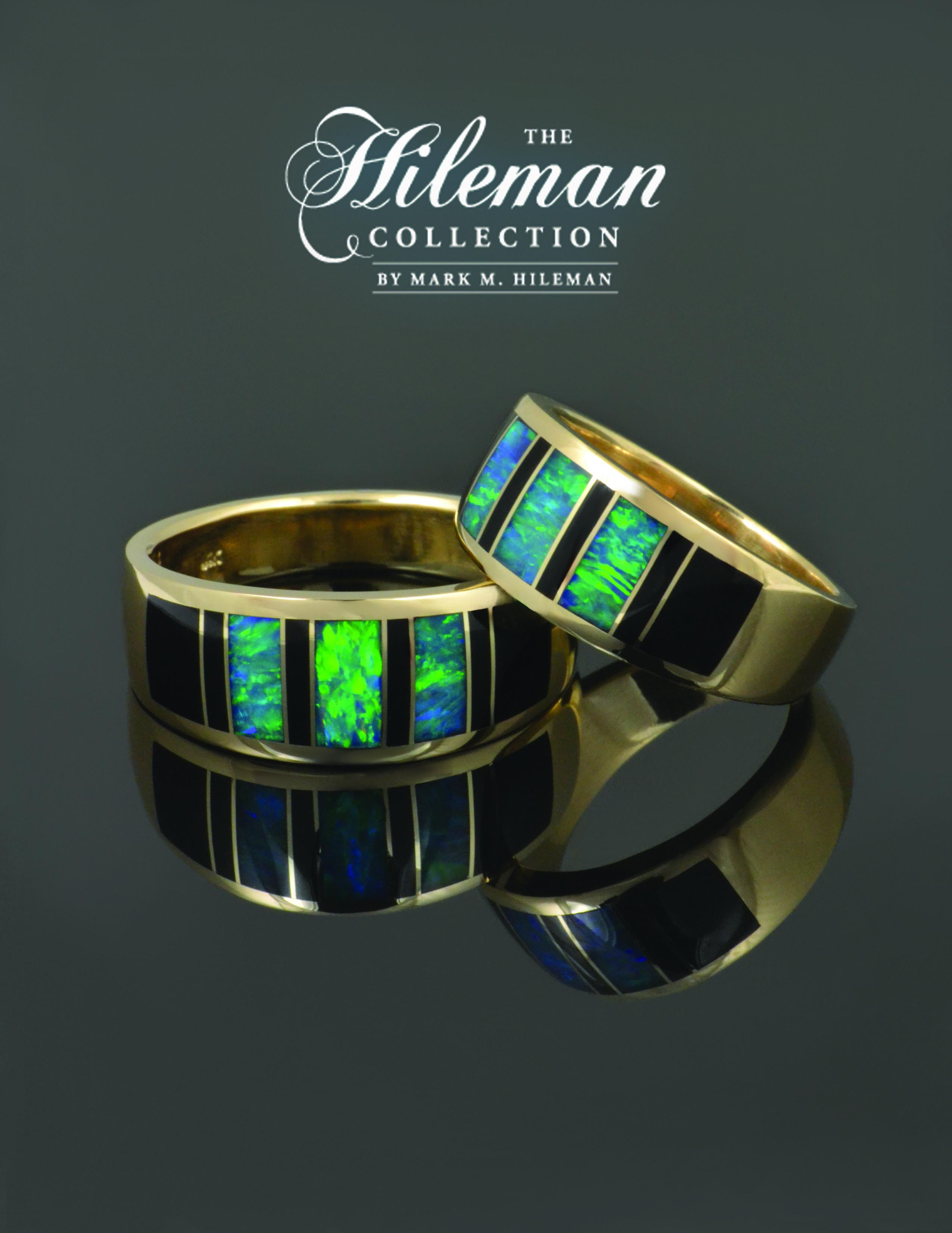 Black onyx and Australian opal wedding ring set