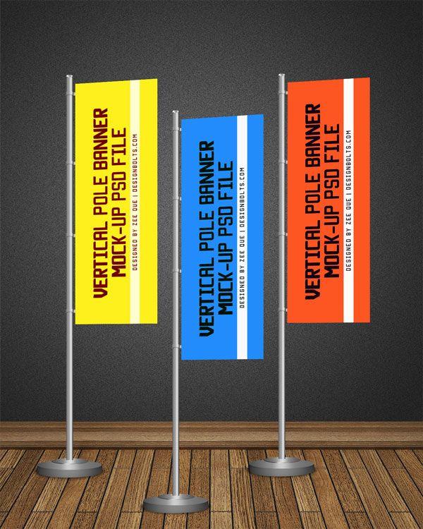 Free Pos Vertical Flag Pole Banner Mock Up Psd File Pole Banners Indoor Banner Banner
