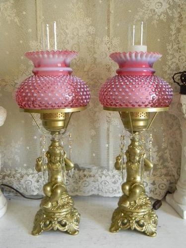 Vintage Fenton Cranberry Hobnail Cherub Lamps