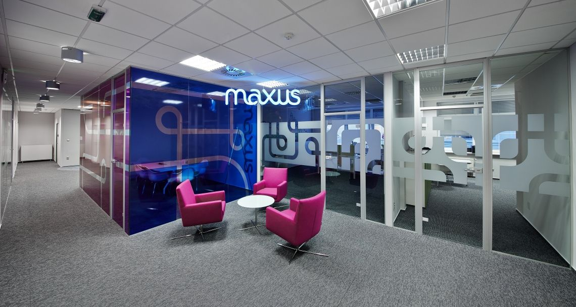 Collaborative area into the offices of Maxus in Prague, Czech Republic