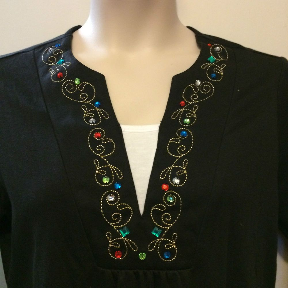 CHRISTOPHER & BANKS JEWELED NECKLINE TOP - BLACK - SIZE X #ChristopherBanks #KnitTop