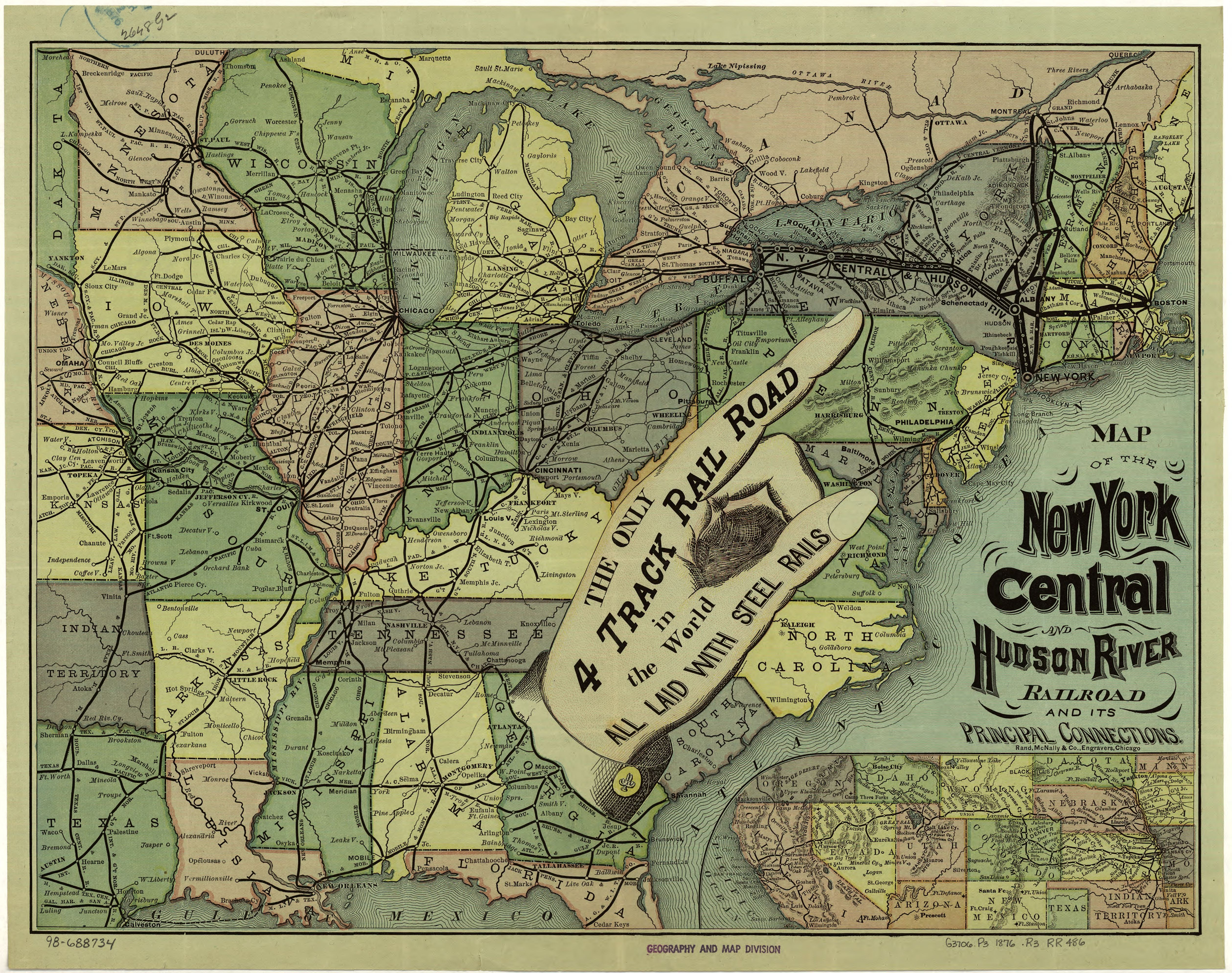 North America Map In 1750%0A Map of the New York Central and Hudson River Railroad  map  railroad   newyork