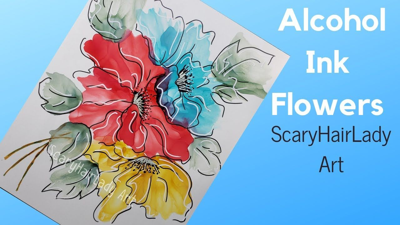 68 alcohol ink flowers using black white markers for