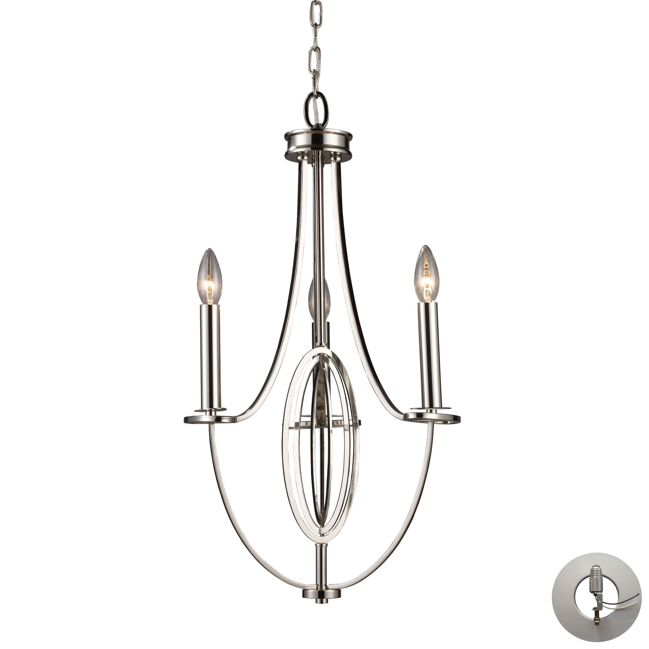 Dione 3 light chandelier in polished nickel includes recessed dione 3 light chandelier in polished nickel includes recessed lighting kit arubaitofo Images