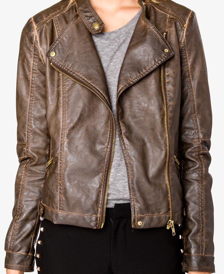Distressed Faux Leather Moto Jacket FOREVER21 I NEED