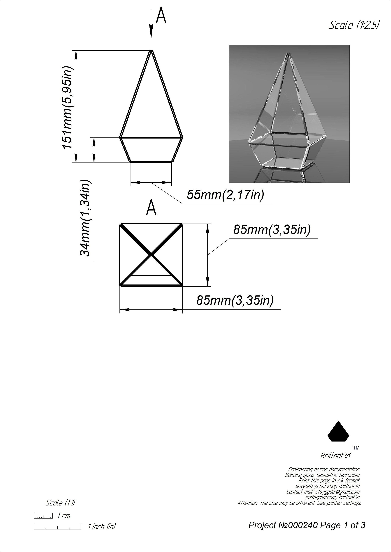 Geometric Glass Terrarium Tiffany Style Printable