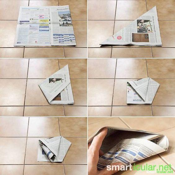 Mülltüten und Einkaufstüten ohne Kleben aus Zeitungspapier falten - kche schwarz matt