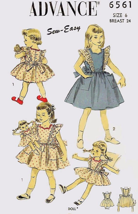 Vintage 1950/'s Sewing Pattern Alice in Wonderland Girls Dress Age 6 /& Doll Dress