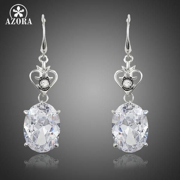 AZORA Alarm Clock Heart With Elegant Oval Egg Clear Cubic Zirconia Stones Drop  Earrings for Valentine s Day Gift TE0234 8973de15974b