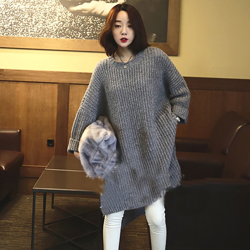 Zipper Slit Side Loose Oversize Knitted Sweater SF #oversizedknitsweaters