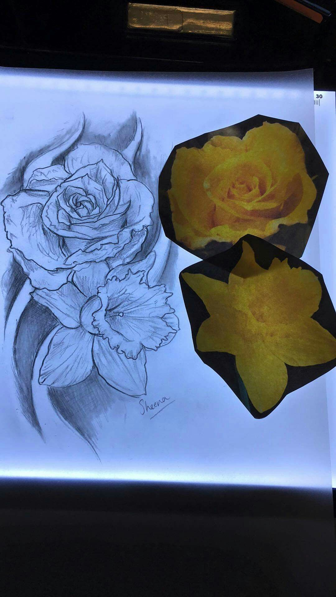 Rose And Daffodil Tattoo Had Designed For My Grandparents By The
