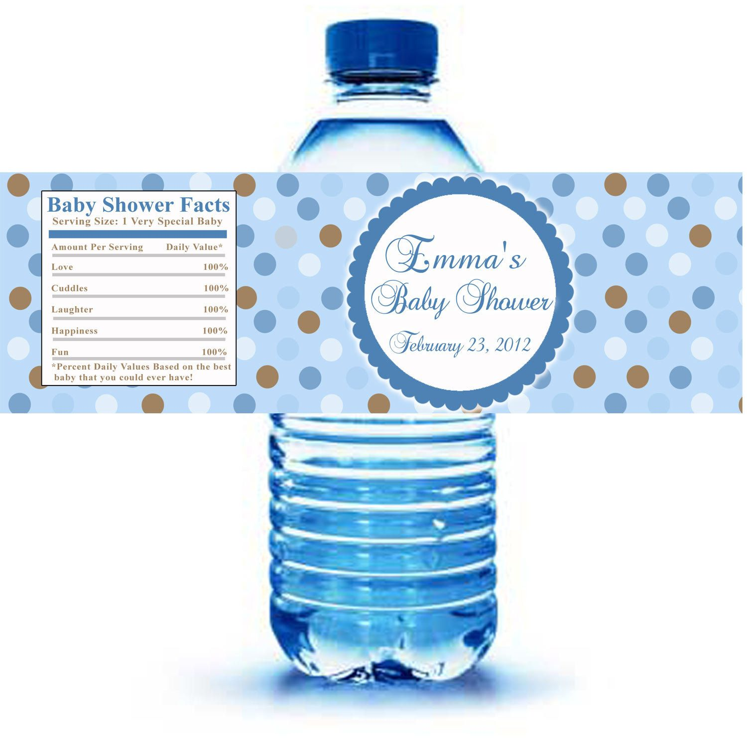 Printable Personalized With Name Blue Polka Dots Water Bottle Labels Wrappers Birthday Party Baby Shower Boy Custom Wraps In 2021 Water Bottle Labels Baby Shower Baby Shower Water Bottles Water Personalized water bottle label template